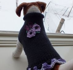 Dog Sweater Hand Knit Butterfly Small 13 inches long  by jenya2, $24.99