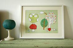 Poster I love owls grün