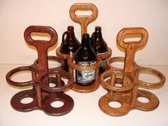 Load your growlers into this handmade growler carrier and set yourself apart from the typical boxy carrier.  This curvy carrier is constructed