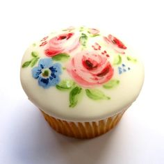 Very pretty hand painted cupcake