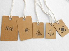 Nautical themed gift-wrap tags