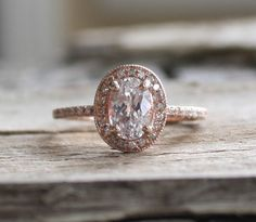 Oval White Sapphire Diamond Halo Engagement Ring in 14K Rose Gold Beautiful Engagement Rings, Halo Diamond Engagement Ring, Beautiful Rings, Diamond Rings, Halo Rings, Solitaire Rings, Morganite Engagement, Stone Rings, Large Wedding Rings