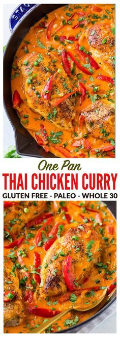 Easy ONE PAN Thai Chicken Curry with Coconut Milk recipe. Filled with authentic red Thai curry flavor, not too spicy, and the coconut milk sauce is to die for! Serve with rice for a fast, healthy weeknight dinner. #thaichickencurry #healthy #easy #whole30 via @wellplated