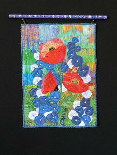 Silk Petals.  Small art quilt by Eileen Williams