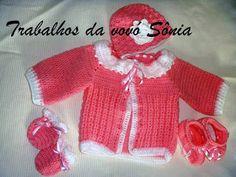 Trabalhos da vovó Sônia: Conjunto para bebê pêssego e branco Duda - crochê
