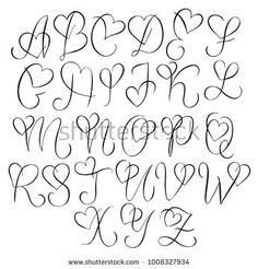 Hand drawn alphabet - calligraphy letters with heart curls