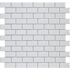 SomerTile 11.75x11.75-in Victorian Subway 1x2-in White Porcelain Mosaic Tile (Pack of 10)...for kitchen and bathroom.