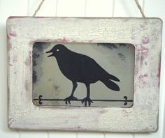 Rustic Raven on Bar antiqued mirror from www.BusterJustis.Etsy.com #rustic#homedecor