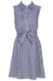 ROMWE Striped Print Belted Blue Sleeveless Shirt Dress