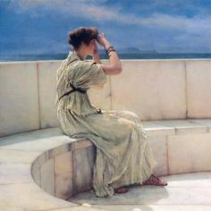 Sir Lawrence Alma-Tadema, The Wait (1885). Weird anachronism, but from a distance this pose makes her look as if she's on a cell phone. Ha, that could involve a long wait, too, say if she's on hold, or can't get a signal.