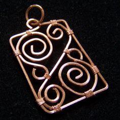 Copper square wire pendant | by NicoleHill
