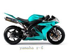 yamaha r-6....in teal blue! Perfect biker babe choice!