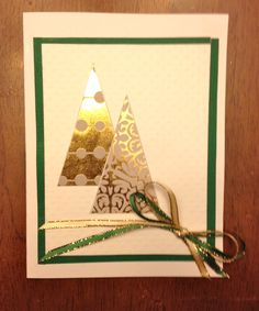 Gold Foil Trees with Gold and Green Ribbons