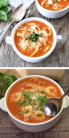 Crock Pot Tortellini, Creamy Tortellini Soup, Creamy Tomato Pasta, Pasta Soup, Tomato Soup, Seafood Recipes, Mexican Food Recipes, Italian Recipes, Soup Recipes