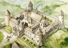 of Farleigh, aerial view reconstruction drawing of the castle in - Frances Hungerford was born here in 1635 Fantasy Castle, Fantasy Map, Medieval Fantasy, Medieval Town, Medieval Castle, Castle Floor Plan, Château Fort, English Heritage, Castle House