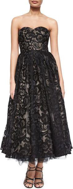 ML Monique Lhuillier Strapless Sweetheart Tea-Length Dress