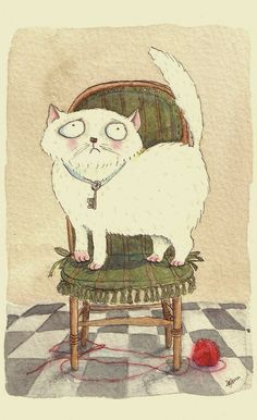 By Anna Lanquetin  #Cat #illustration #watercolour