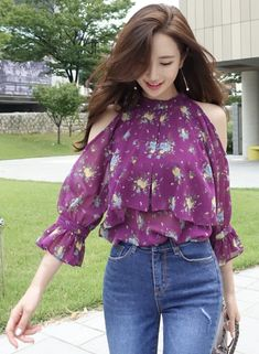 StyleOnme_Floral Print Cold Shoulder Frill Blouse #purple #floral #stylish #coldshoulder #ruffle #blouse #feminine #koreanfashion #kstyle #kfashion #summertrend #dailylook