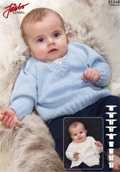 Raglan short/long sleeve sweater, cardigan Preemie Baby  free pattern Sizes 38 to 86 cm.  Gauge 27 st 10 cm Needles 2,5 and 3 mm Link to pdf in Swedish: http://media.jarbo.se/patterns/pdf/91248_low.pdf
