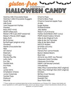 A printable list of Gluten Free Halloween Candy for easy reference!