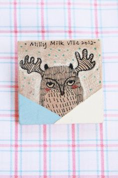 Wooden Brooch Square  Hand Painted Illustration by MillyMilkVille, $5.70