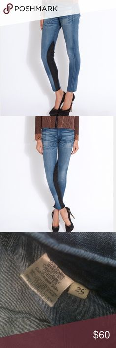 Rag & Bone Leather Panel Skinny Jeans Love these and I'm unsure whether I should sell them or not. Dark denim with black lamb leather panels. rag & bone Jeans Skinny