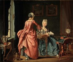 A woman is reading, the chambermaid brings tea, 1775.