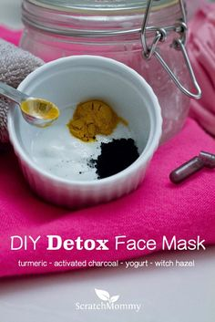 Detoxify your skin, buff away dead skin cells and discover radiant skin- DIY Detox Face Mask Made With Charcoal, Turmeric, Witch Hazel & Whole Milk Yogurt.