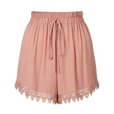 Pink Lace Hem Short ($26) ❤ liked on Polyvore featuring miss selfridge