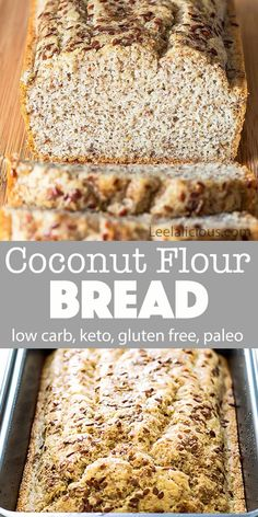 This amazing coconut flour bread recipe makes a delicious loaf of fluffy sandwich bread – that happens to be low carb, keto, paleo, and gluten free! No eggy flavor or complicated ingredient list. Find out my secret for making it extra fluffy! Keto Bread Coconut Flour, Keto Banana Bread, Almond Flour Recipes, Baking With Coconut Flour, Coconut Flour Cakes, Protein Bread, Blueberry Bread, Almond Meal, Almond Butter