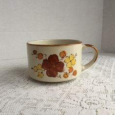 Vintage Ceramic Yellow and Brown  Soup Bowl Made in Korea / Brown and Yellow Flowers Soup Mug by JMP Casualstone by vintagepoetic on Etsy