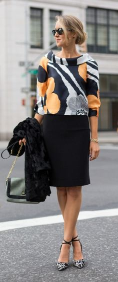 black, white and yellow shawl-collar boatneck crop top with black pencil skirt  |  http://www.theclassycubicle.com/2014/10/mod-mix.html