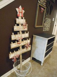 Christmas Tree Christmas Card Display over 4 ft tall Created from old fence pickets and clothespins to Use for Advent Calendar too BEST EVER... by tonya