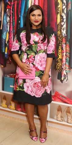 Mindy Kaling attended the The Mindy Project: 6 Seasons of Style in the chicest floral dress styled to perfection with matching mary jane heels and a pink cross-body bag.