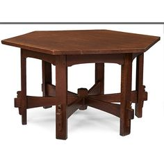 "L & JG Stickley Hexagonal table, #563 55.5""w x 47""d x : Lot 104"
