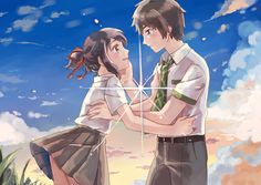 Your Name- Mitsuha and Taki Anime Love Couple, Cute Anime Couples, Adorable Couples, Kimi No Na Wa, Mitsuha And Taki, Your Name Anime, Ghost In The Shell, Animation Film, Manga Girl