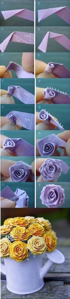 Una forma muy sencilla de hacer rosas de papel