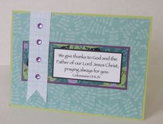 We Give Thanks Handmade Christian Thank You Card In Blue With Scripture by stufffromtrees on Etsy