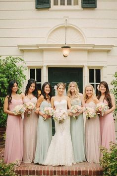 Pastel bridesmaid dresses via Wedding Chicks. Bridesmaids And Groomsmen, Wedding Bridesmaids, Wedding Attire, Wedding Dresses, Bridesmaid Jewelry, Green Bridesmaids, Prom Gowns, Prom Dress, Lace Dress