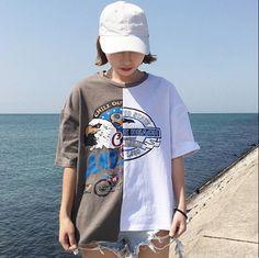 Korean Ulzzang Shirt Top 2017 Spring Summer New Tees Harajuku Vintage Print Patchwork Asymmetric T-shirt Women Casual Shirts #Affiliate