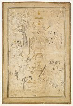 Royal Picnic Object Name: Single Work Date: ca. 1590–95 Geography: India, Deccan, Ahmadnagar Culture: Islamic Medium: Ink, opaque watercolor, and gold on paper Dimensions: Image/Folio: 8 1/16 × 11 13/16 in. (20.5 × 30 cm) Frame: 24 × 20 1/16 × 1 in. (61 × 51 × 2.5 cm) Classification: Codices Credit Line: The British Library