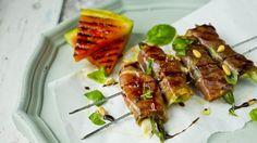 Asparges og mozzarella i spekeskinke