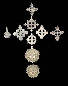 Africa | 9 silver crosses from Ethiopia | The lot 220 € ~ sold