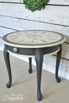 The Interior Frugalista - striking clock styled side table... with paint! So pretty!