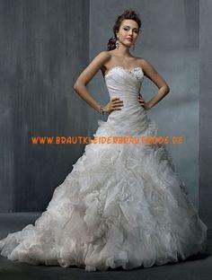 2013 Luxuriöse schöne Brautkleider aus Satin und Organza A-Linie mit Reifrock