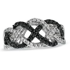 1/2 CT. T.W. Enhanced Black and White Diamond Loose Braid Ring in Sterling Silver - Size 7 - Gordon's Jewelers
