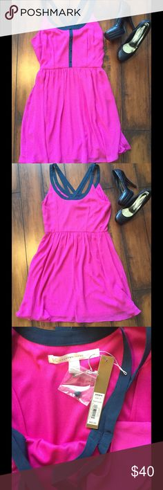 NWT pink dress NWT gorgeous pink dress by Lauren Conrad size 12. It's accented with blue on the top. Perfect for spring and summer! LC Lauren Conrad Dresses