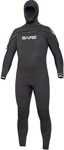 Bare 8/7mm Velocity Hooded Semi Dry Mens Wetsuit (Medium-Large Tall)