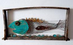 pez, carton, chatarra, alambre, arte, reciclado, oxido, fish, art, wood