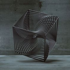 Tesseract - Sacred Geometry - This is a sense manipulating geometric body. The straight lines crate a movement and with all the intersection points some of them seem as if they aren't straight. Sculpture Metal, Geometric Sculpture, Geometry Art, Sacred Geometry, Fractal Geometry, 3d Artwork, Wow Art, 3d Prints, Land Art